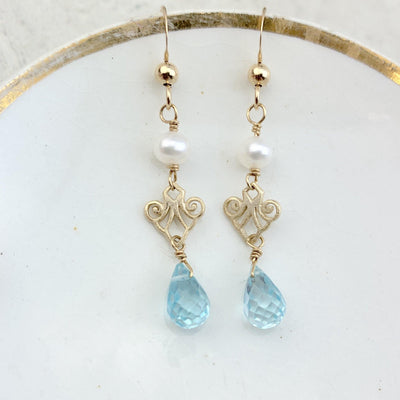 Elegant Drop Bridal Filigree Earrings with Gem Drop - Anna Balkan