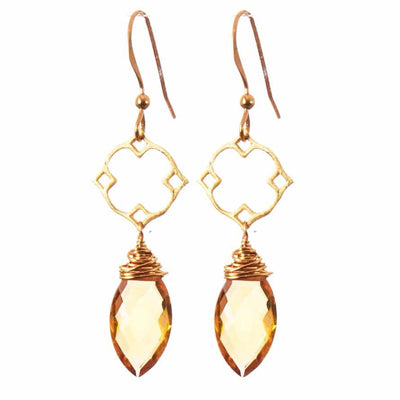 Filigree Earrings w Marquee Gem Drop - Anna Balkan