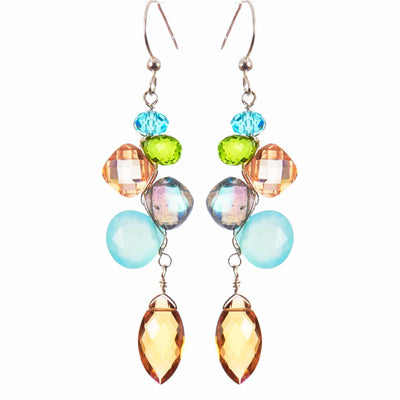 Playful Kaleidoscope Gems Mix Shape Earrings-Anna Balkan