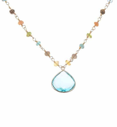 Lucy Bezeled Heart Gem Necklace-Anna Balkan