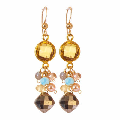 Sienna Bezel and Square Gem Elegant Earrings-Anna Balkan