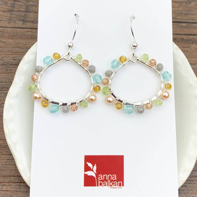 Lily Mini Petal Colorful Gemstone Hoops Earrings-Anna Balkan