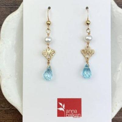 Mini Filigree Earrings w Tear Drop Gem - Anna Balkan