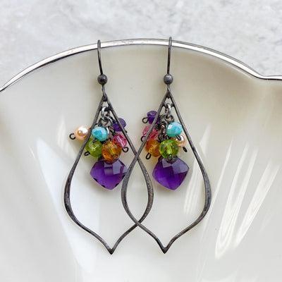 Oria Petal Gemstone Earrings - Anna Balkan