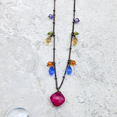 One-of-a-Kind Gold Veins Turquoise and Gems Necklace-Anna Balkan