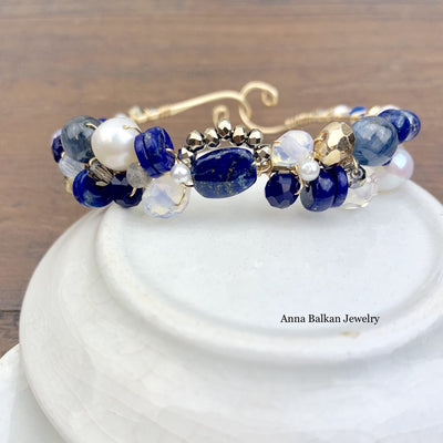 Shepards Hook Signature Lapis and Gems Bracelet (Limited Edition)-Anna Balkan