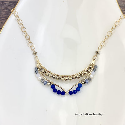 Modern Textured Chevron Crescent Gemstone Necklace-Anna Balkan