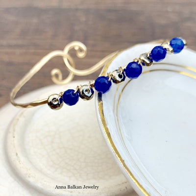 Shepard's Hook Signature Lapis and Pyrite Bracelet (Limited Edition)-Anna Balkan