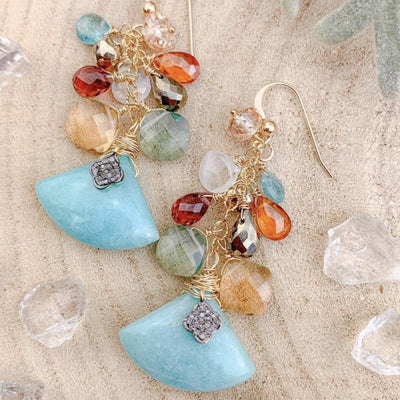 One Of A Kind Blue Amazonite with Cluster Dangle - Anna balkan