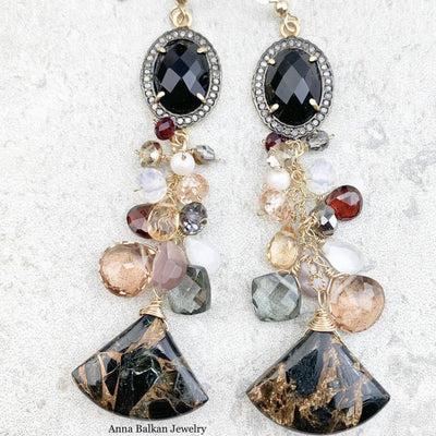 Pave Diamond Bezeled Black Onyx with Cluster Dangle and Copper Obsidian Earrings