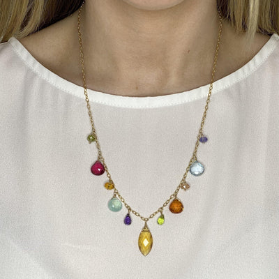 Instant Classic New Zina Colorful Marquee Gemstone Necklace-Anna Balkan