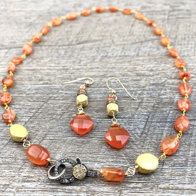 One-of-a-Kind Carnelian w Pave Diamonds Necklace-Anna Balkan