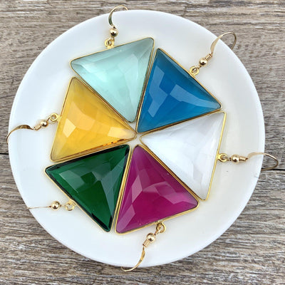 Alexa Triangle Gem Earrings-Anna Balkan
