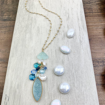 Carved Aquamarine Marquee and Blue Gems Pendant Style Necklace on Pearls - Anna Balkan