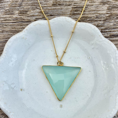 Simple Alexa Triangle Large Gem Necklace-Anna Balkan