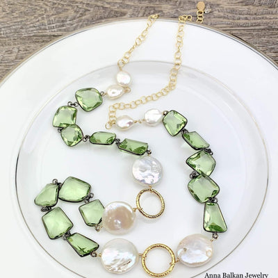 Modern Inspired Geometric Green Amethyst Long Necklace - Anna Balkan
