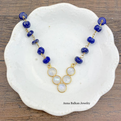 Layering V-Shape Moonstone Necklace-Anna Balkan