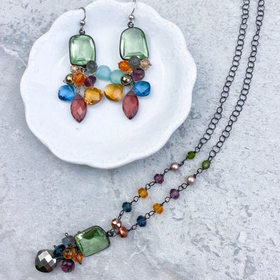 Bezeled Gem with Dangle Marquee Cluster Earrings - Anna Balkan