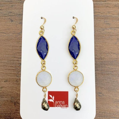 Bezeled Marquee Mixed Shapes Drop Earrings-Anna Balkan