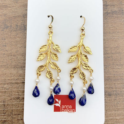Leaves and Drops Chandelier Earrings-Anna Balkan