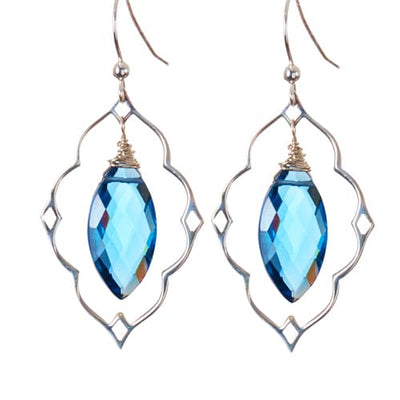 Statement Filigree Earrings w Marquee Gem-Anna Balkan