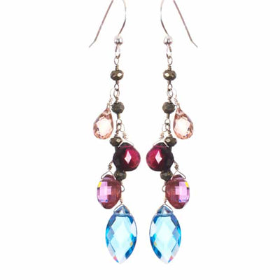 Mixed Shapes Colorful Gems Drape Earrings-Anna Balkan
