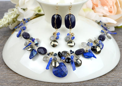One-of-a-Kind Lapis and Pyrite Twist Necklace-Anna Balkan
