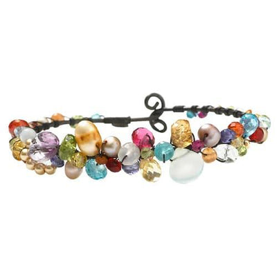 Chalcedony and Gems Wrapped Sheppard's Hook Bracelet - Anna Balkan