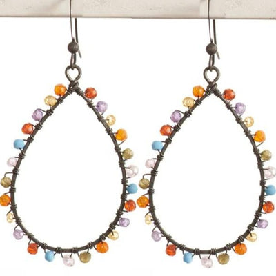 Multi Gemstone Hoop Earrings-Anna Balkan