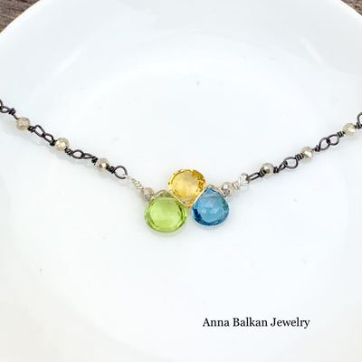 Mini Katie Tr-Gem Gem Necklace-Anna Balkan