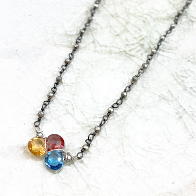 Mini Katie Tri-Gem Necklace - Anna Balkan