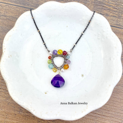 Triangle Colorful Gem Necklace-Anna Balkan