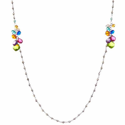"Elegant Long w Gem Sections Layering Necklace 38""-Anna Balkan"