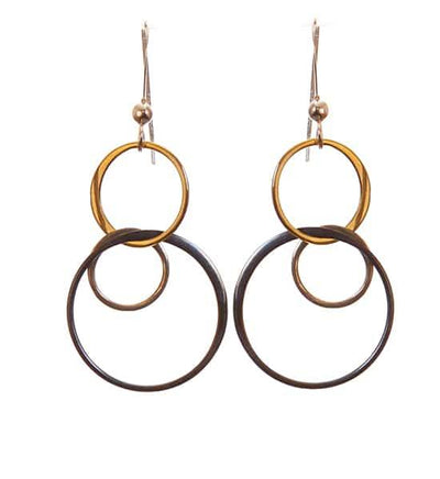 Amy Medium Three-Tone Earrings Mixed Metal - Anna Balkan