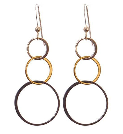 Amy Long Three-Tone Earrings Mixed Metal - Anna Balkan