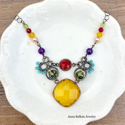 Sarah Unique Gems and Links Necklace-Anna Balkan