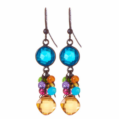 Sienna Bezel and Square Earrings-Anna Balkan