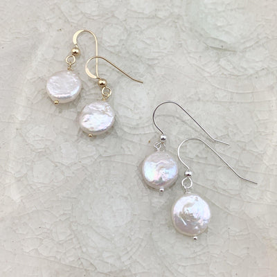 Classic Coin Pearl Earrings - Anna Balkan