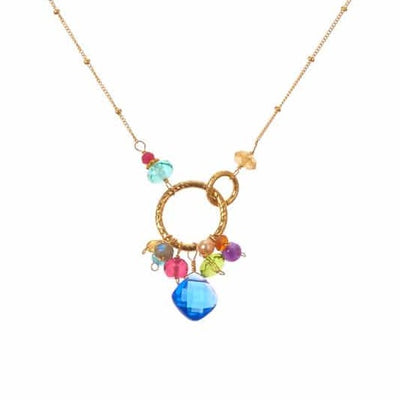 Paige Colorful Gems Pendant Necklace-Anna Balkan