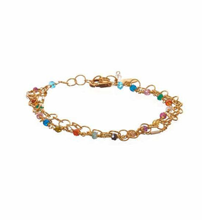 Tara Mix Gems and Textured Chain Bracelet-Anna Balkan