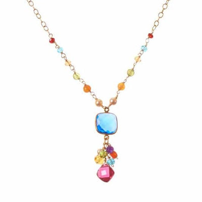 Sienna Bezeled Pendant on Gems Necklace - Anna Balkan