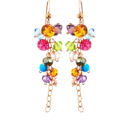 Playful Colorful Gems Drape Earrings-Anna Balkan