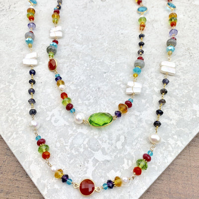 "Colorful Necklace w/ Pearls and Gems 18""-Anna Balkan"