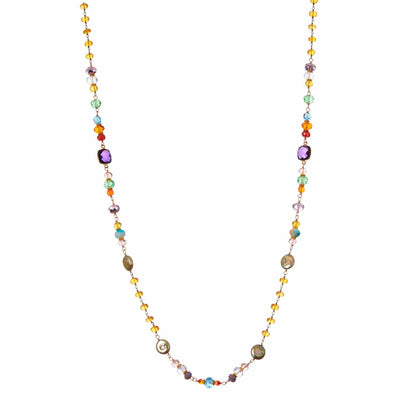 "Colorful Long Layering Necklace 32""-Anna Balkan"