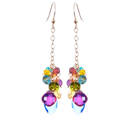 Playful Colorful Marquee and Gems Drape Earrings-Anna Balkan