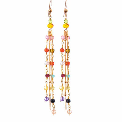 Playful Multistrand Colorful Tassel Earrings - Anna Balkan