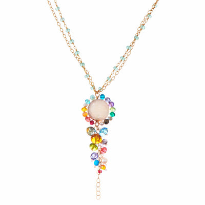 Long Colorful Druzy Pendant Necklace - Anna Balkan