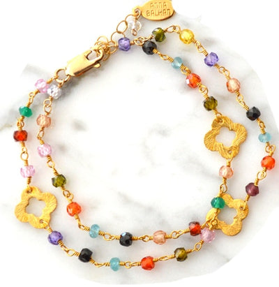 May Mix Gems and Clovers Bracelet-Anna Balkan