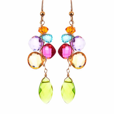 Playful Colorful Kaleidoscope Gems Mix Shape Earrings-Anna Balkan