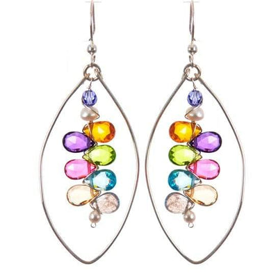 Kaleidoscope Colorful Gems Statement Hoops-Anna Balkan
